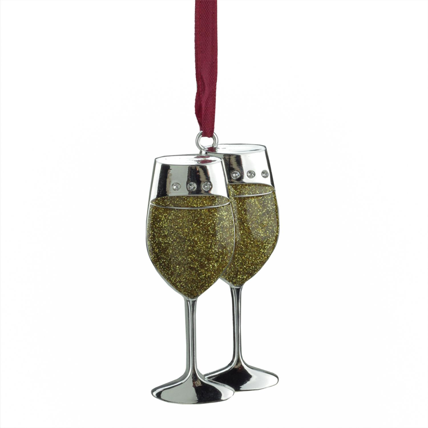 ''3.25'''' Regal Shiny Silver-Plated Gold Glitter Wine GLASSES Ornament with European Crystals''