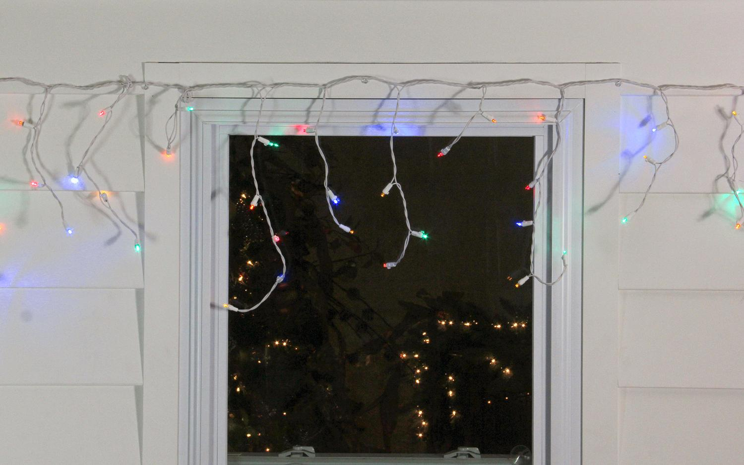 northlight set of 100 multi color led wide angle icicle christmas lights white wire
