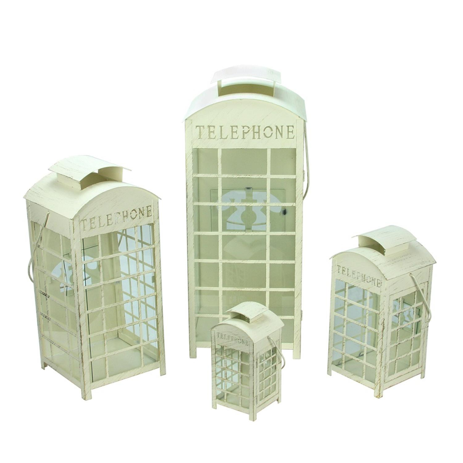 ''Set of 4 Weathered Cream and Gold TELEPHONE Booth Glass Pillar Candle Lanterns 8.75'''' - 25''''''