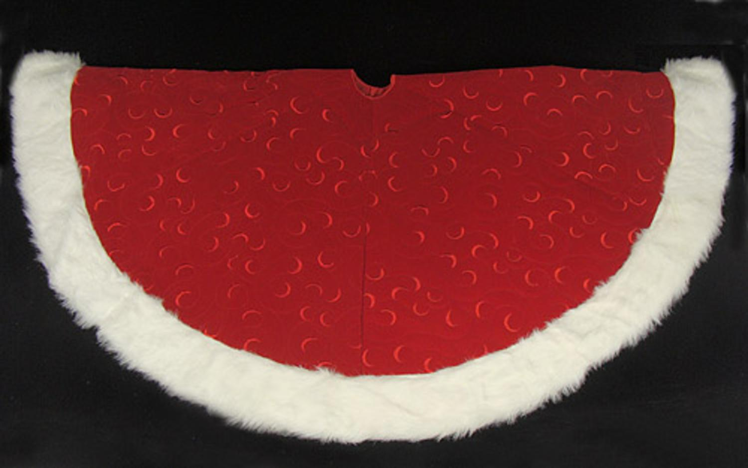 ''56'''' Red Swirl Embossed Christmas Tree Skirt with White Faux Fur Trim''
