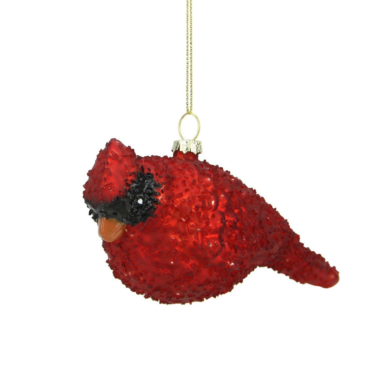 6 glass red cardinal bird christmas ornament