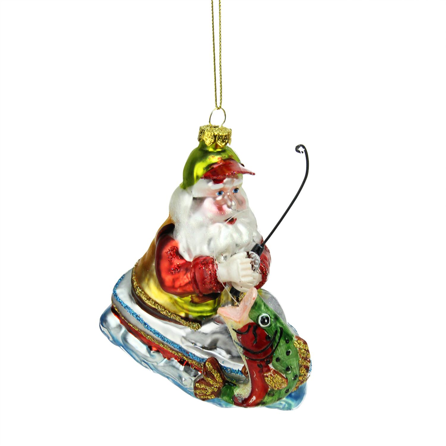 ''4.5'''' Catch of the Day Santa Claus FISHING on Boat Glass Christmas Ornament''