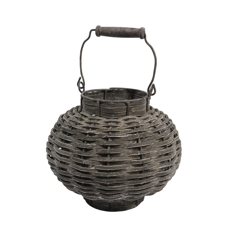 ''11.5'''' Beach Day Weathered Dark Gray Woven Wood VOTIVE CANDLE Lantern''