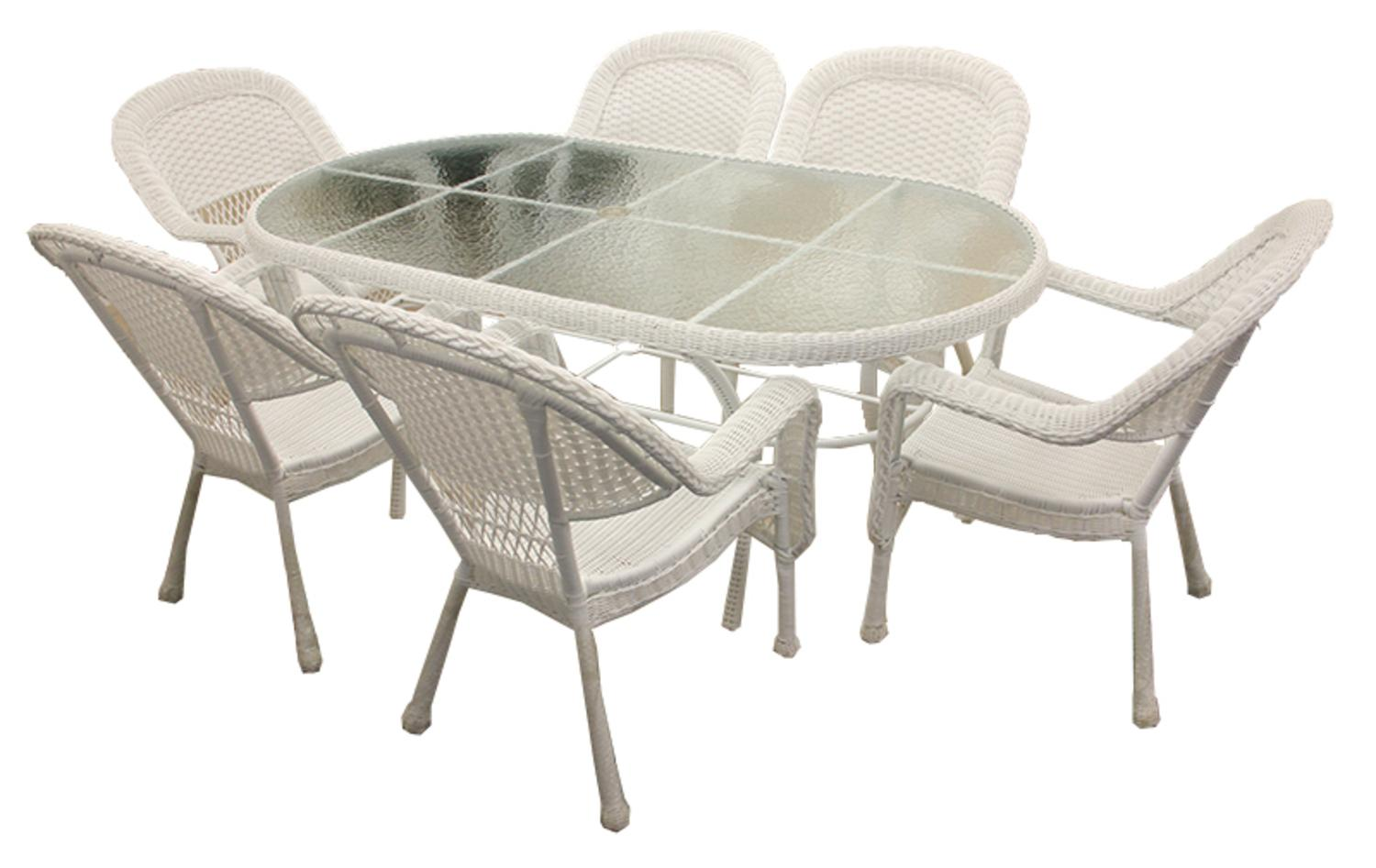 Details about lb international 7 piece white wicker patio dining set 6 chairs 1 dining table