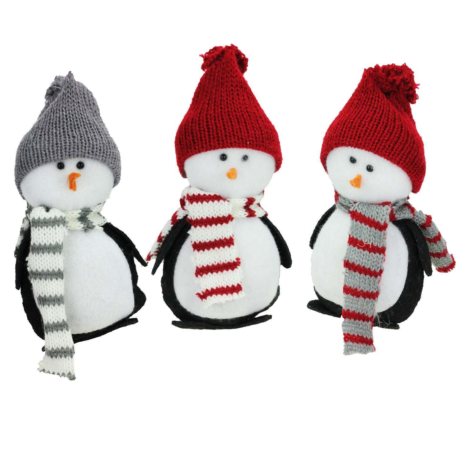 ''Set of 3 Charming HOLIDAY Penguin Christmas Ornament or Tabletop Decorations 6''''''
