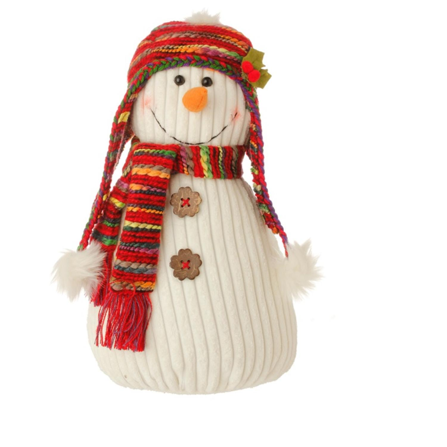 14quot Bohemian Holiday Plush Snowman w Colorful