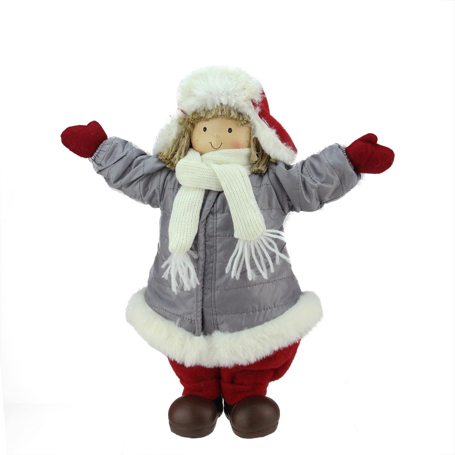 ''12.25'''' Cheerful Young Boy Gnome in Gray Puffy Winter Coat and RED HAT Christmas Decoration''