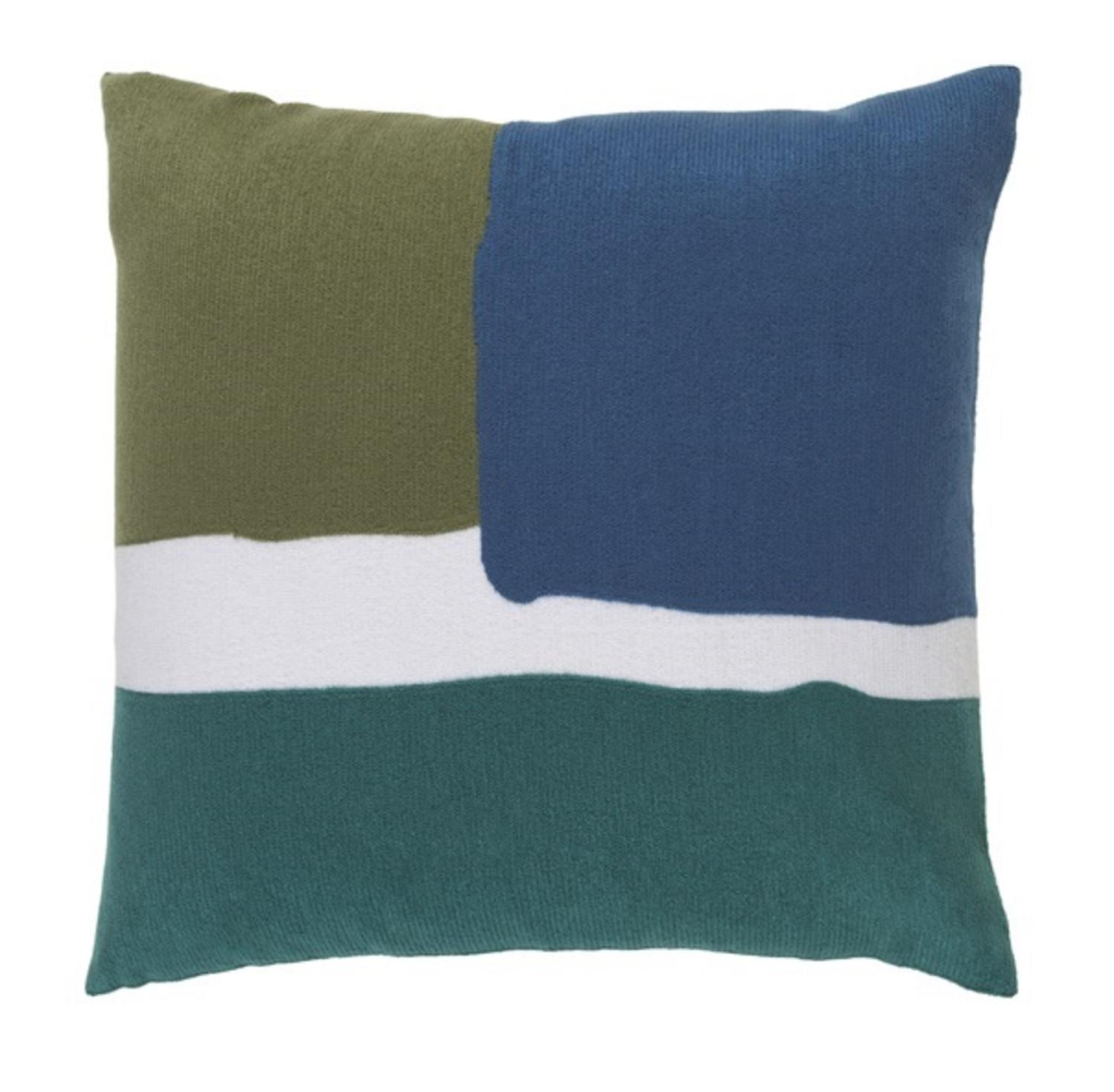 18? Turquoise and Navy Blue, Olive Green and White Decorative Throw Pillow - Tanga