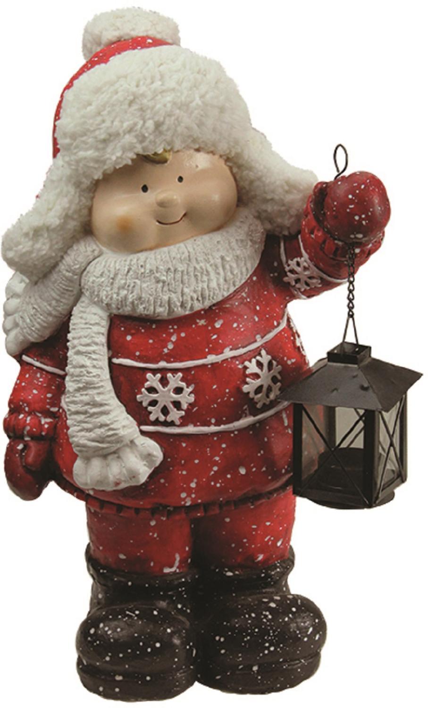 ''16.50'''' Christmas Morning Boy Holding Tealight Lantern Christmas Tabletop Figure''