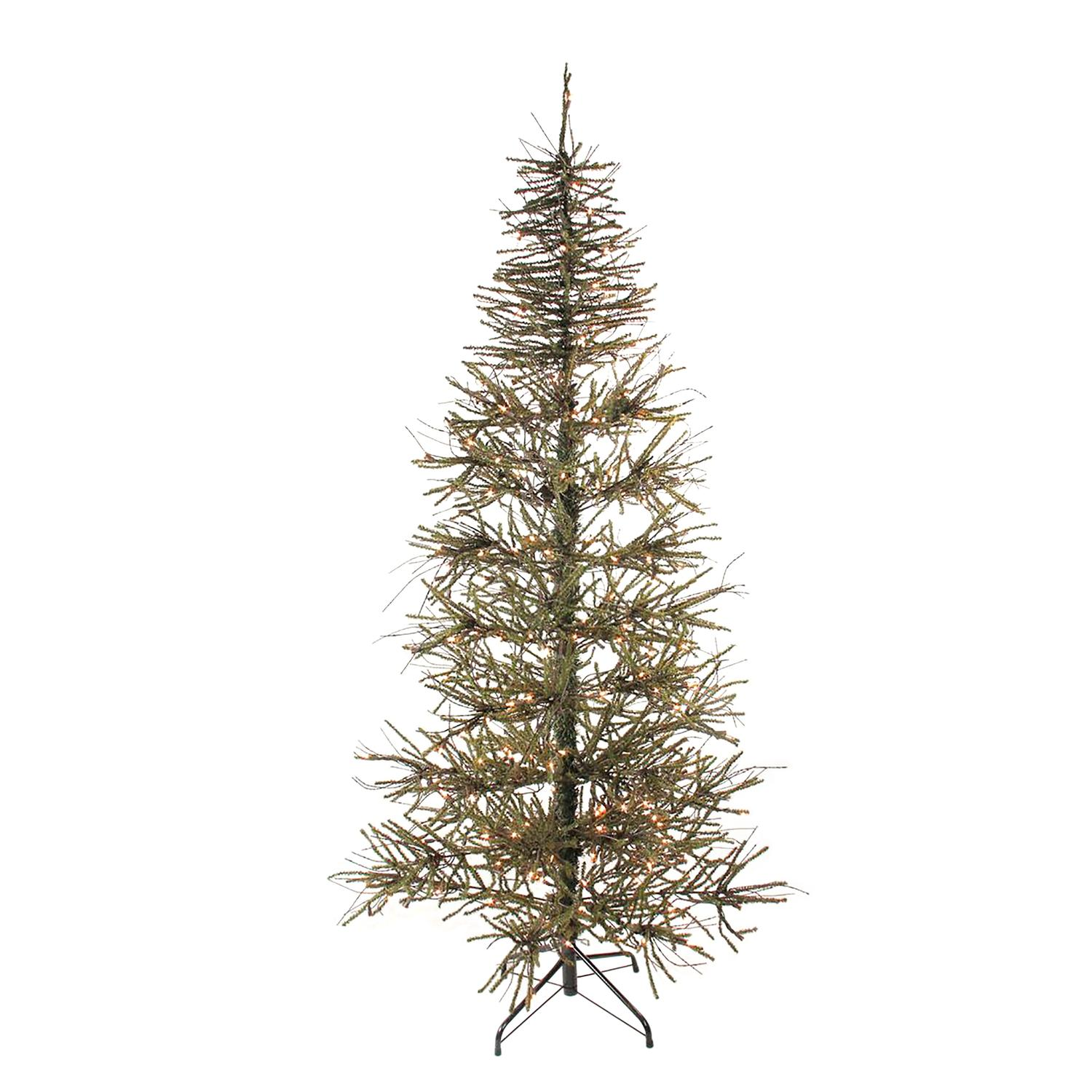 6 pre lit slim warsaw twig artificial christmas tree clear lights