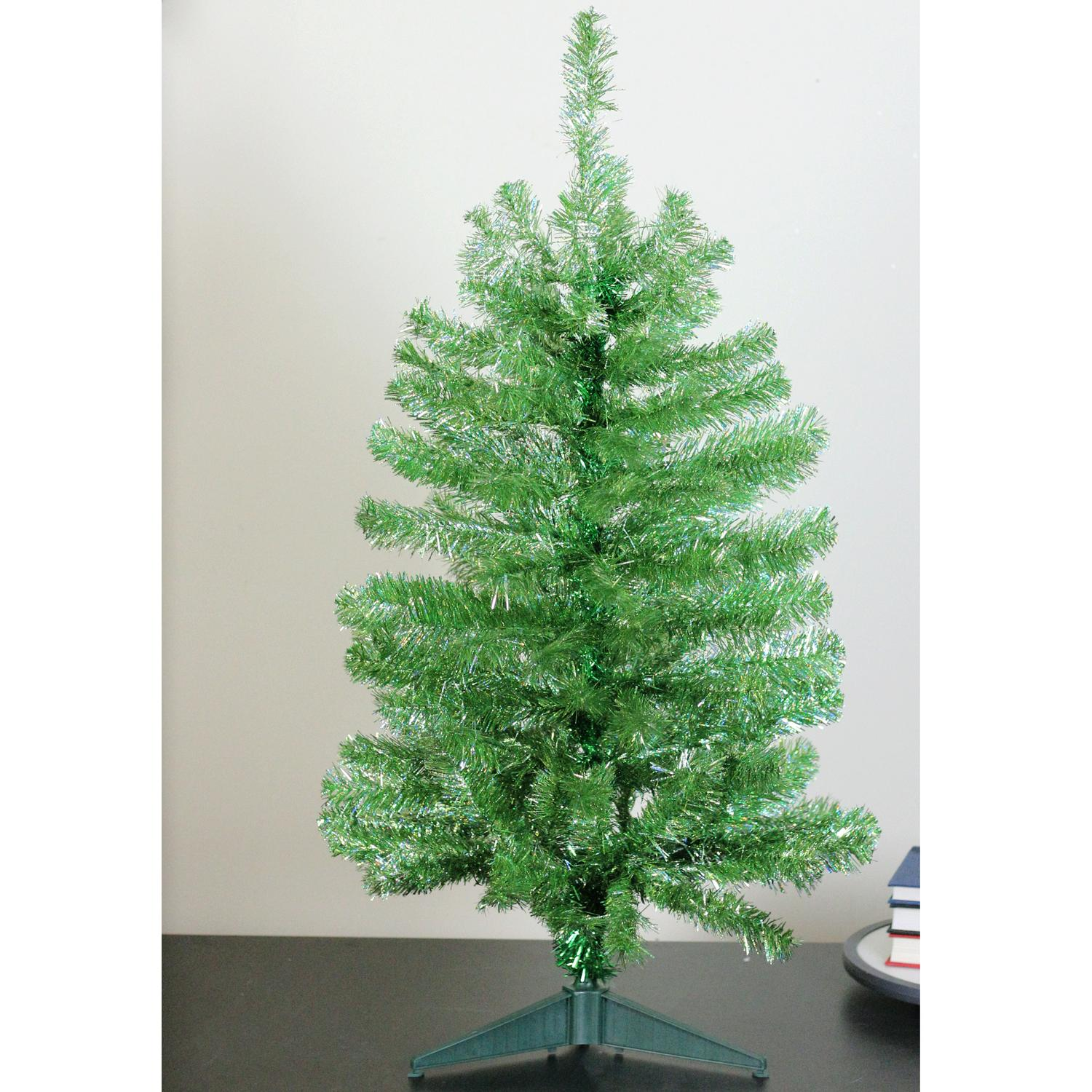 Paul Minor 3\' Laser Lime Noble Pine Tinsel Artificial Christmas Tree ...