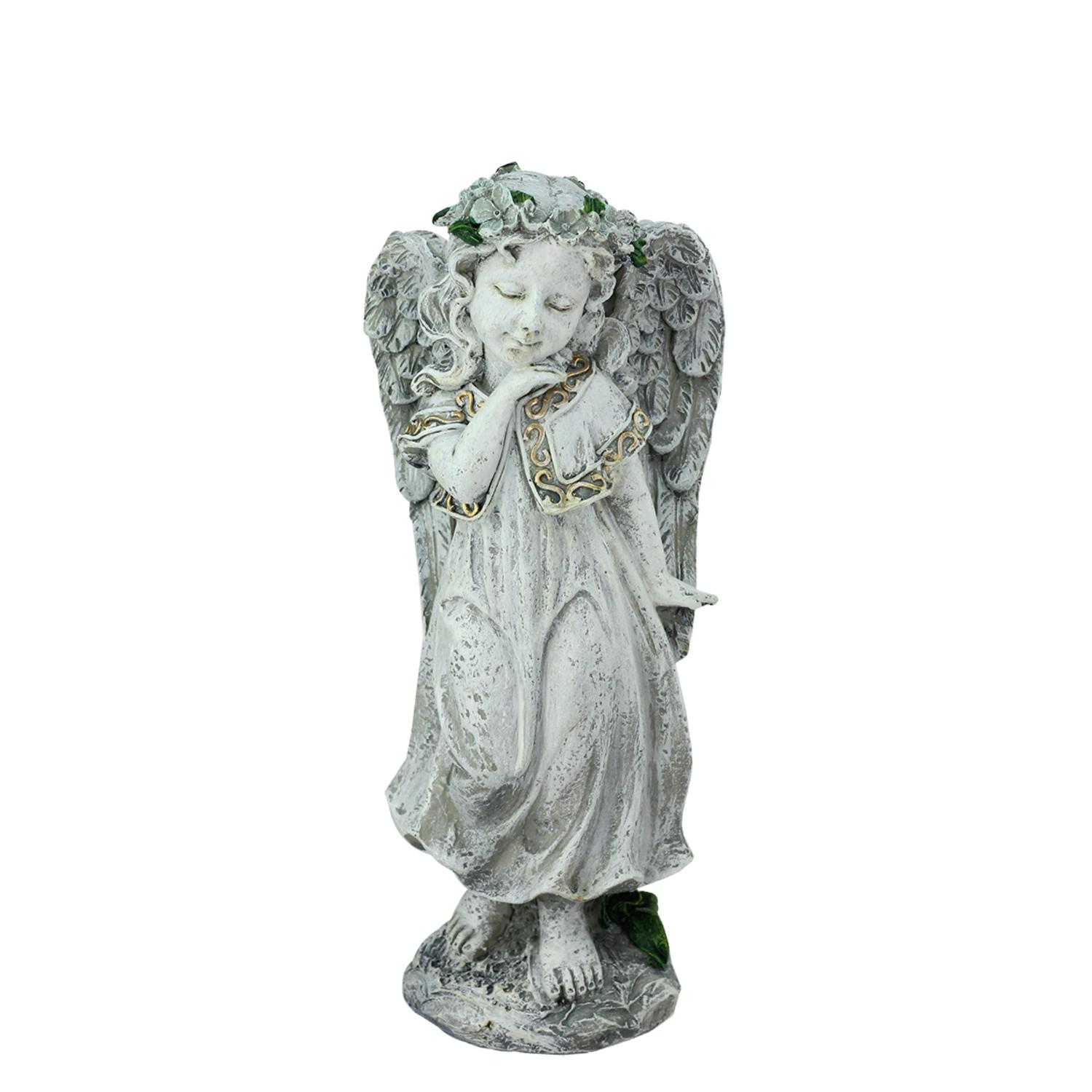''10.25'''' Heavenly Gardens Distressed Gray Angel Girl with Floral Crown Outdoor Patio Garden Statue''