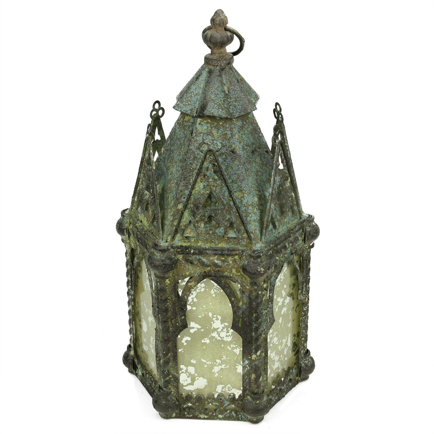 ''17.25'''' Antique Weathered Verdigris Style Church Hanging TAPER CANDLE Lantern''