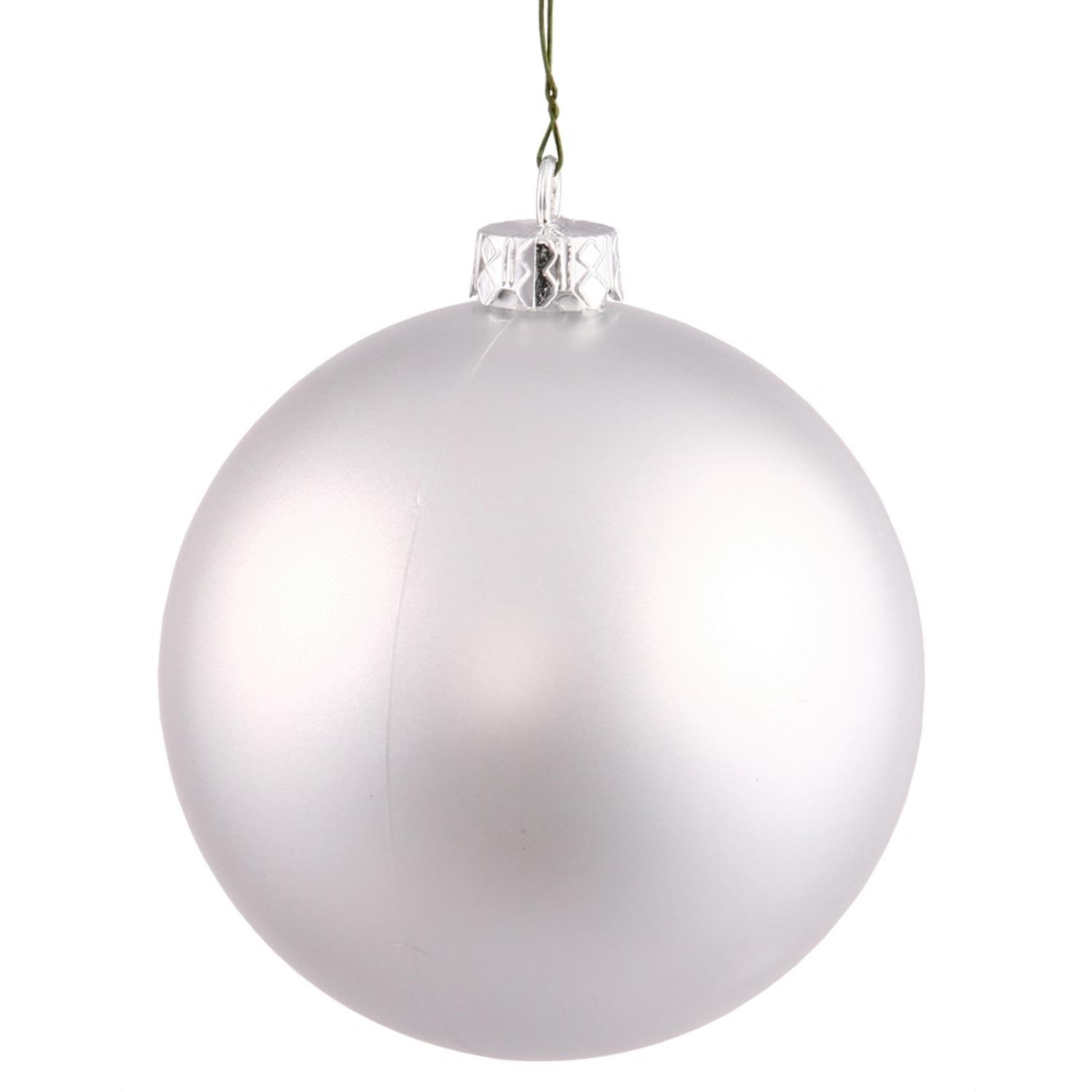 Decorative Christmas Ball Ornaments: Vickerman Matte Silver Shatterproof Christmas Ball