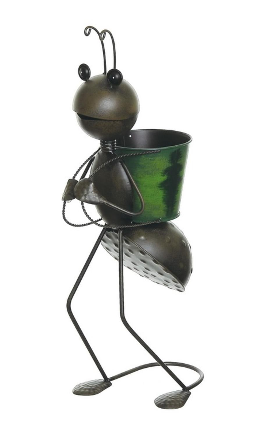 ''22.5'''' Espresso Brown Garden Ant With Green BACKPACK Decorative Spring Outdoor Planter''