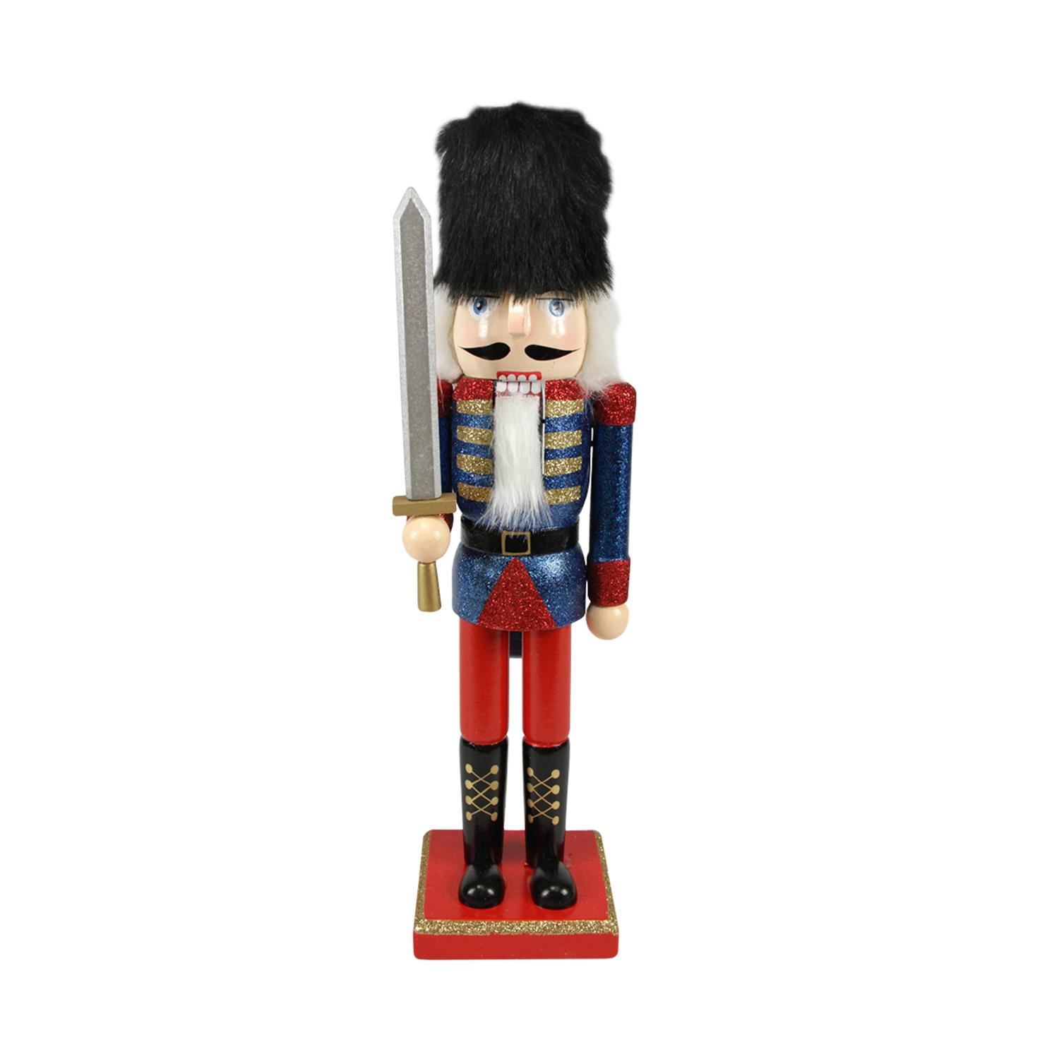 ''14.25'''' Decorative Wooden Blue  Red and Gold Glittered Christmas Nutcracker Soldier with SWORD''