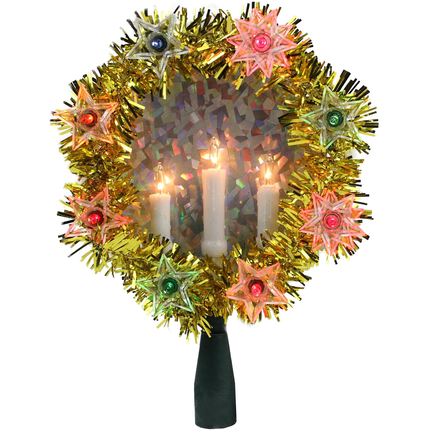 ''7'''' Gold Tinsel Wreath with CANDLEs Christmas Tree Topper - Multi Lights''