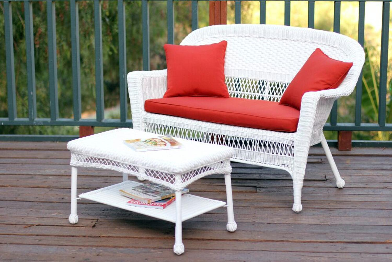 2 Piece Aurora White Resin Wicker Patio Loveseat And Coffee Table Furniture Tanga