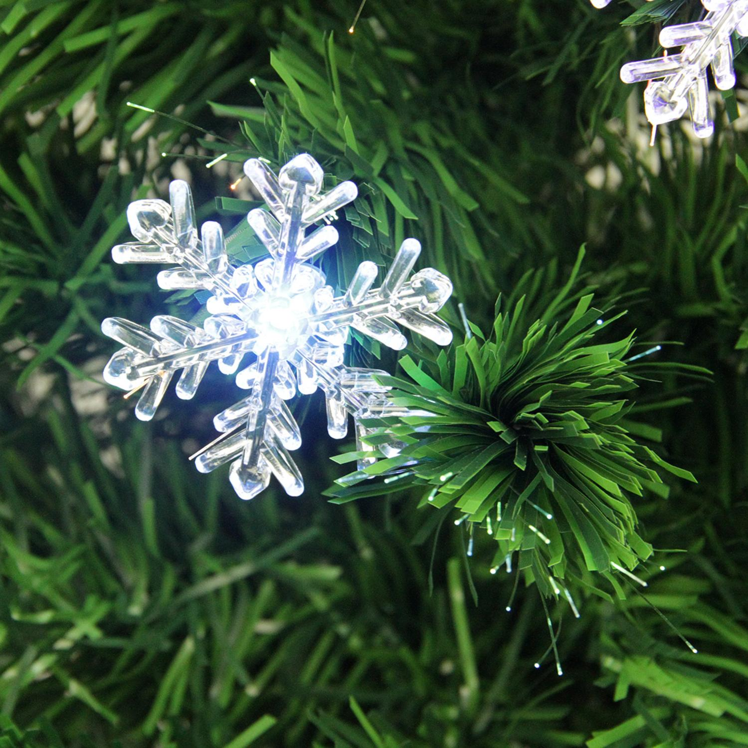 3\' Pre-Lit Color Changing Fiber Optic Christmas Tree with Snowflakes ...
