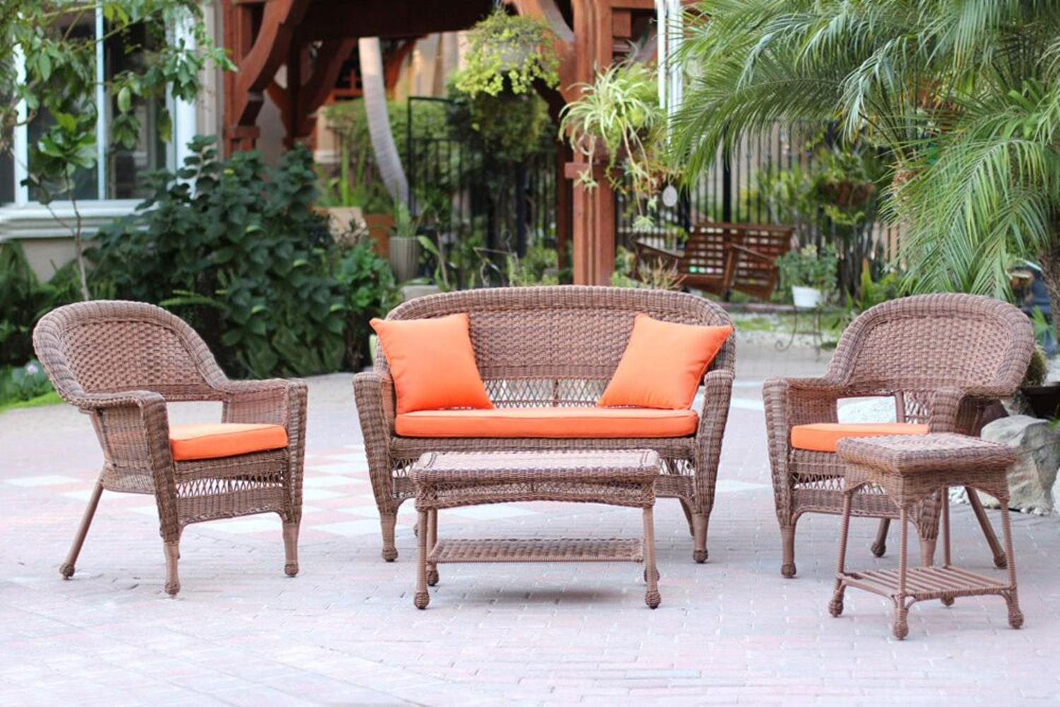 5 Piece Honey Wicker Patio Chair Loveseat Table Furniture Set Orange C Tanga
