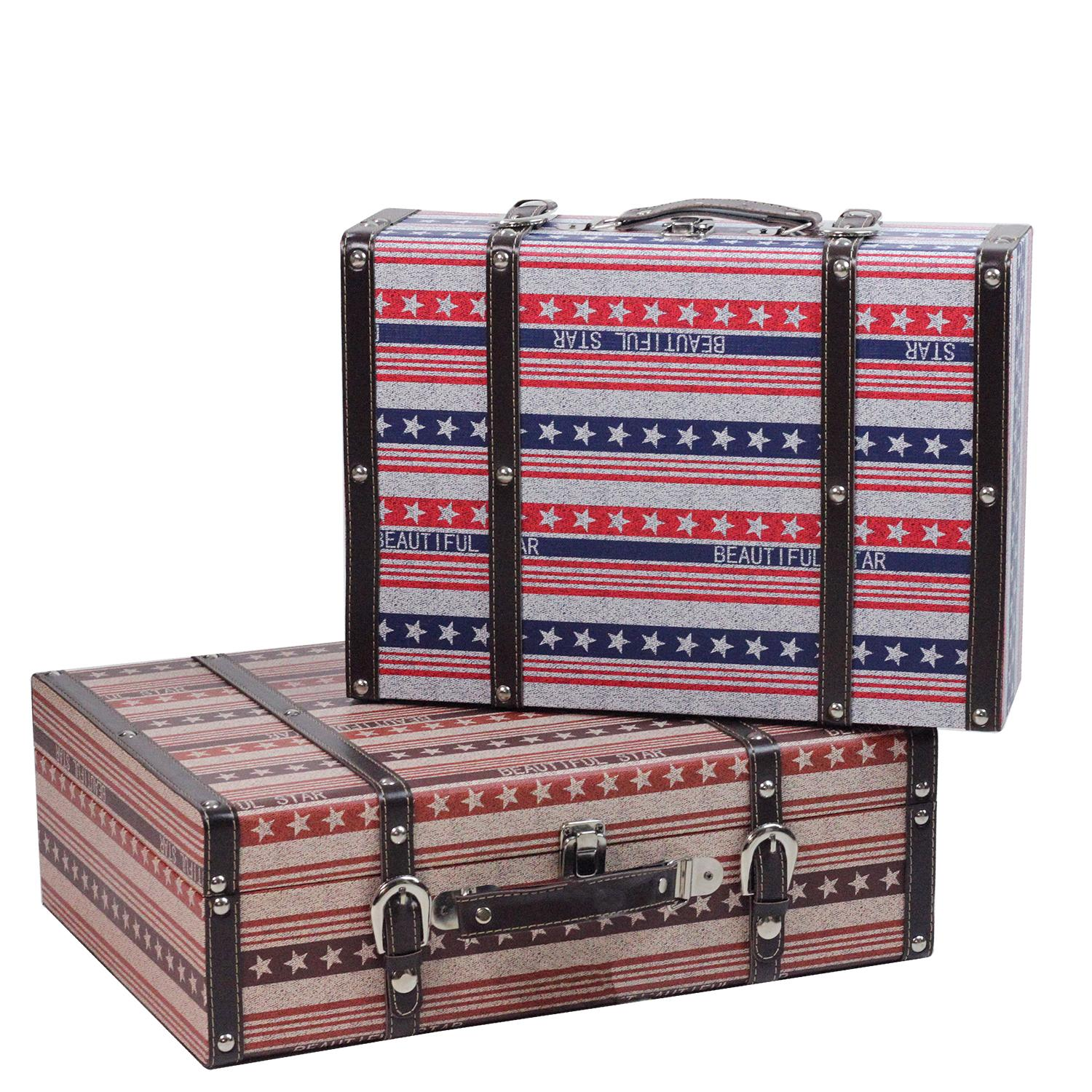 ''Set of 2 Vintage-Style Red  White and Blue Beautiful Star Decorative Wooden LUGGAGE Trunks 17.5''''''