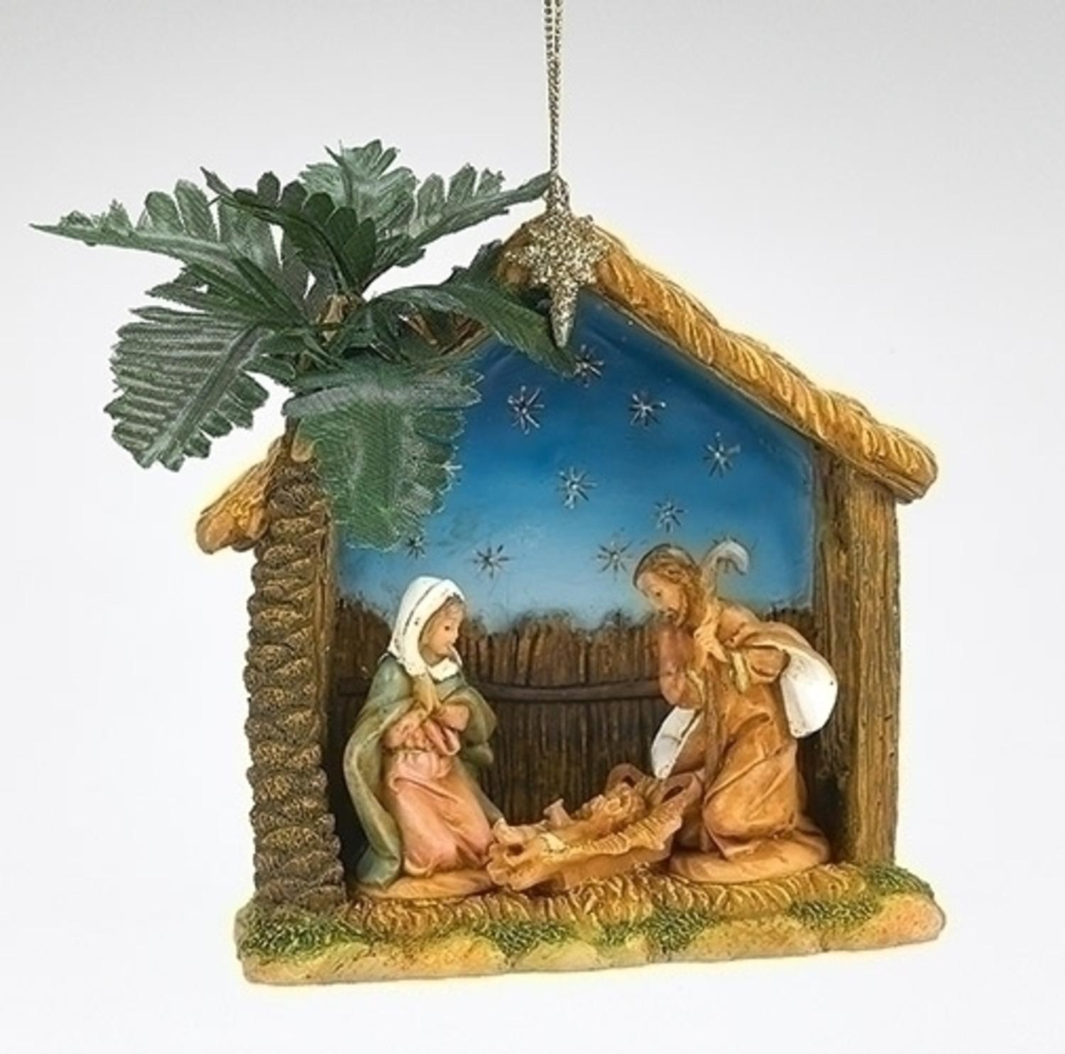 "Vintage Religious Nativity Christmas Ornament: Fontanini 4"" Religious Holy Family Nativity With Palm"