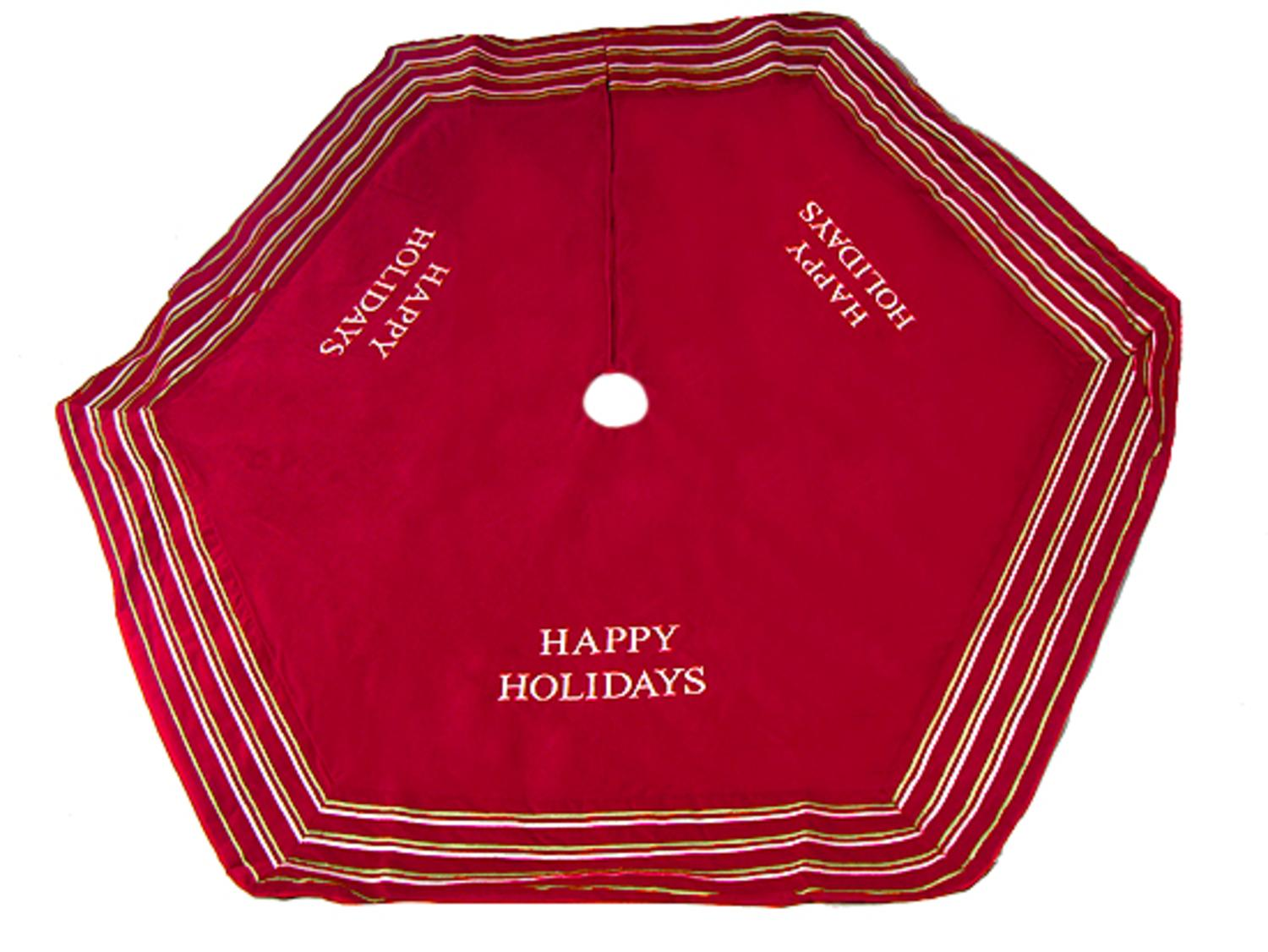 ''56'''' Red ''''Happy HOLIDAYs'''' Christmas Tree Skirt with Striped Trim''