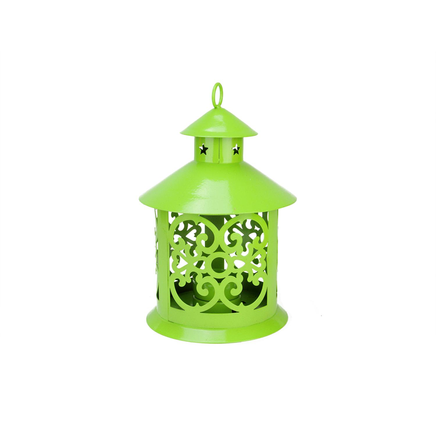 ''8'''' Shiny Lime Green Votive or TEALIGHT Candle Holder Lantern with Star and Scroll Cutouts''