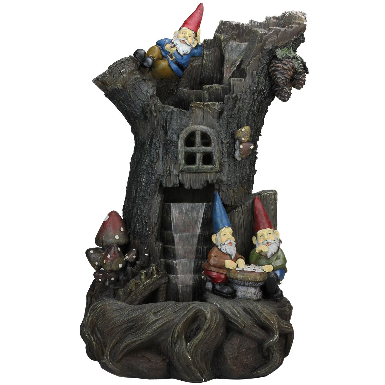 ''28'''' Three-Tier Gnome Home Tree Stump Outdoor Patio Garden Water Fountain''