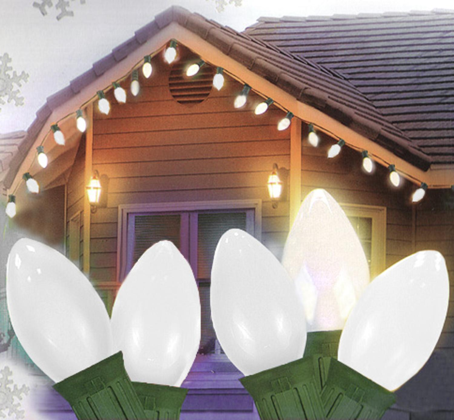 Details About Hofert Set Of 25 Opaque Clear White C7 Christmas Lights Green Wire