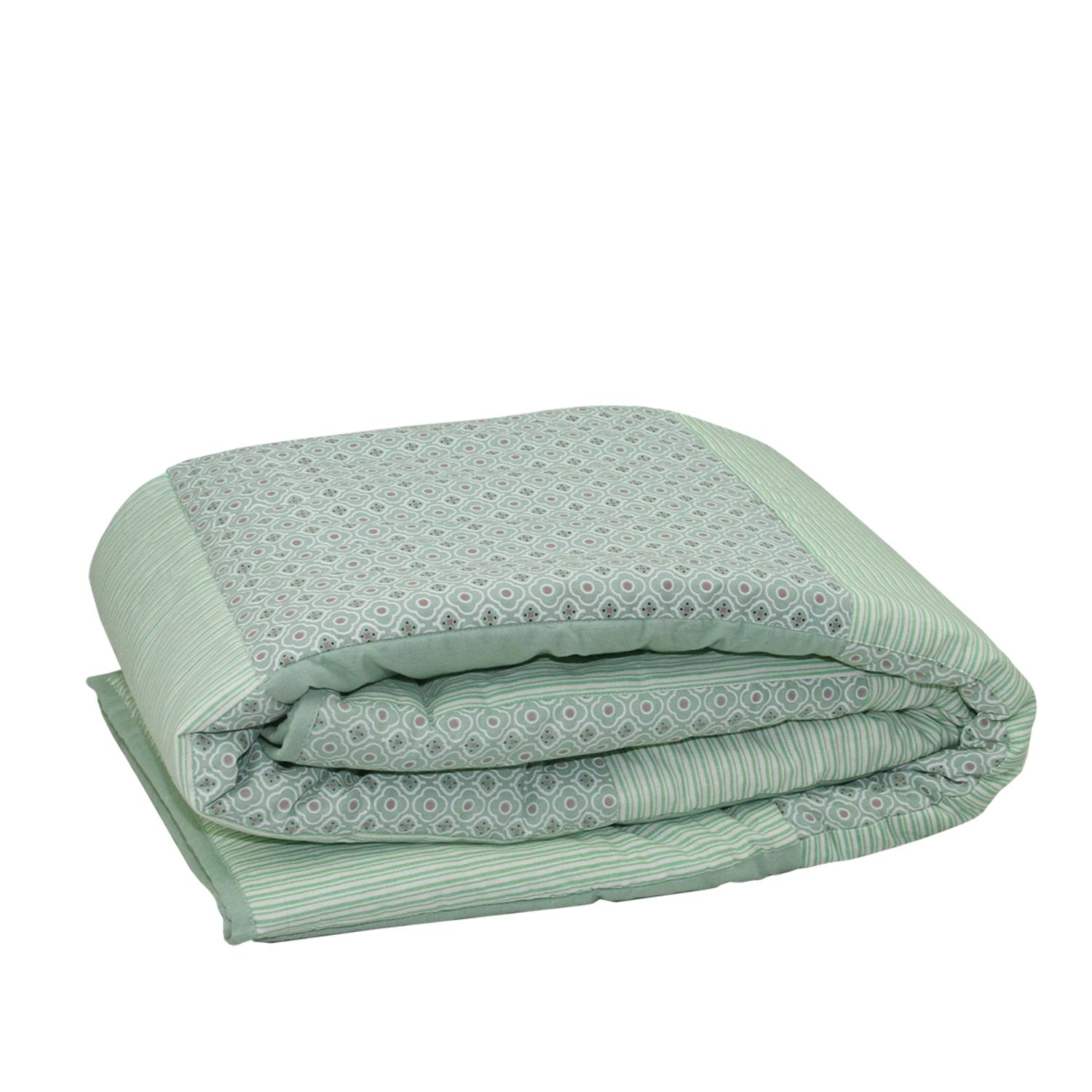 ''78.75'''' New Romance Spring Green Stripe and Quatrefoil Quilted Throw BLANKET''