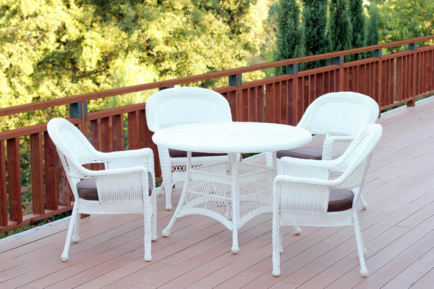 5 piece white resin wicker chair table patio dining for Best deals on patio furniture sets