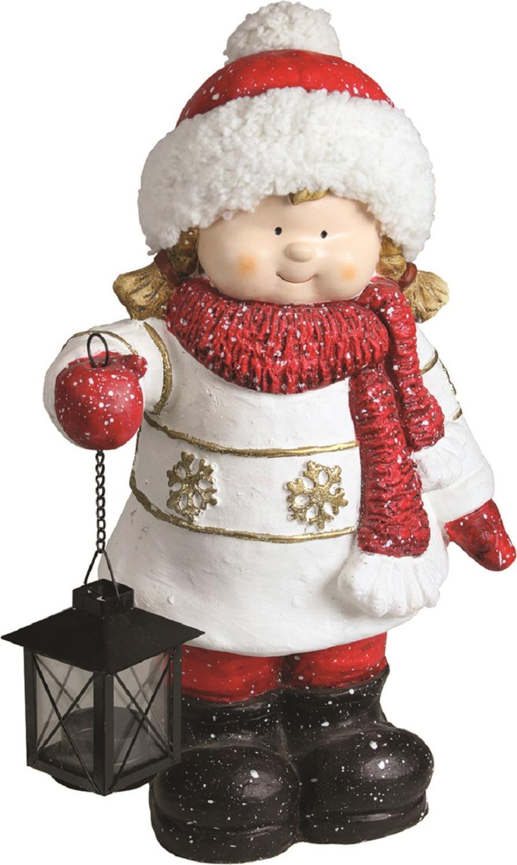 ''16.50'''' Christmas Morning Girl Holding Tealight Lantern Christmas Tabletop Figure''
