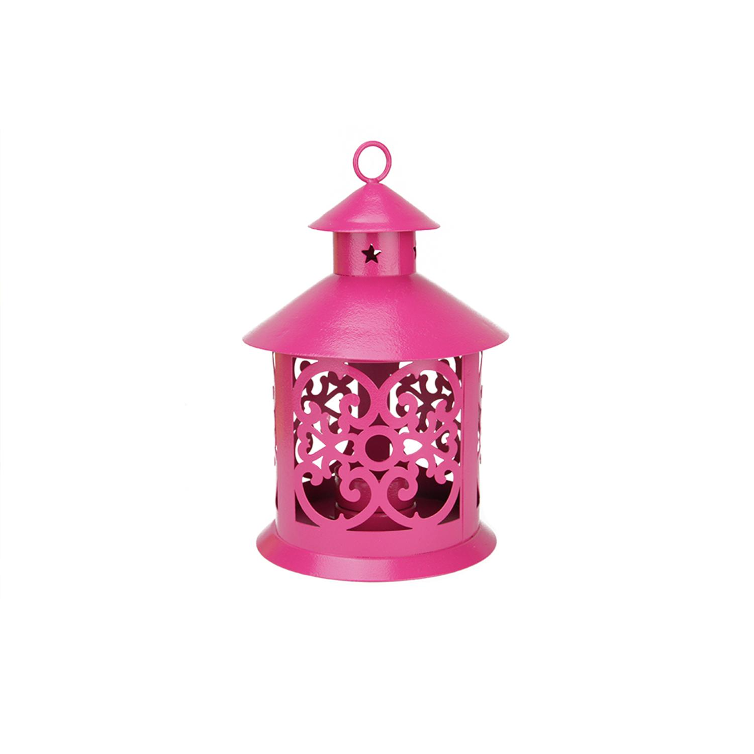 ''8'''' Shiny Pink Votive or TEALIGHT Candle Holder Lantern with Star and Scroll Cutouts''