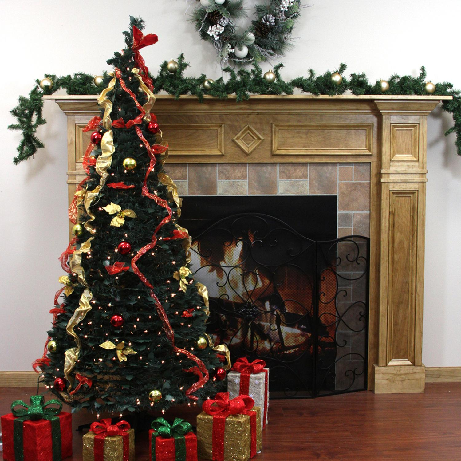 Pop Up Christmas Trees With Lights: 6' Pre-Lit Pop Up Decorated Red/Gold Artificial Christmas