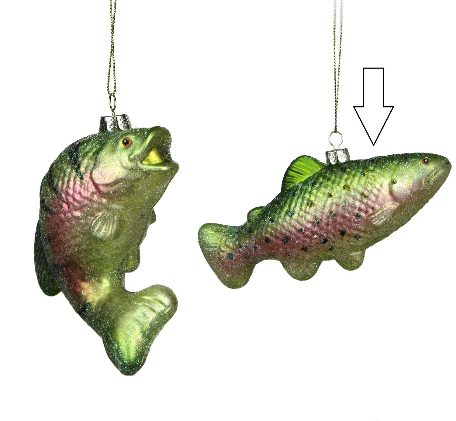 ''3'''' Under the Sea Glittered Metallic Green Spotted Fish Glass Christmas ornament''
