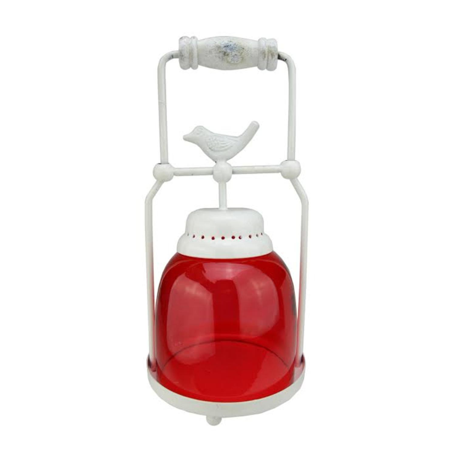 ''11.75'''' Decorative Red and White Antique Inspired Avian Bird Glass VOTIVE CANDLE Holder Lantern''