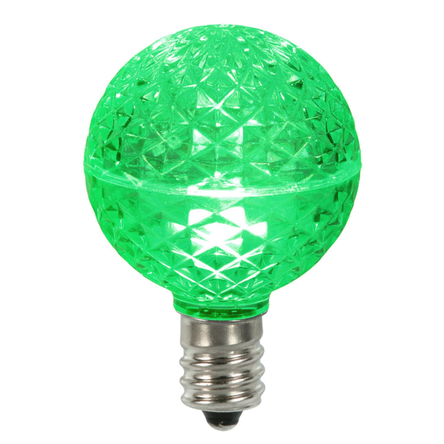Club Pack of 25 LED G50 Green Replacement Christmas LIGHT BULBS - E12 Base