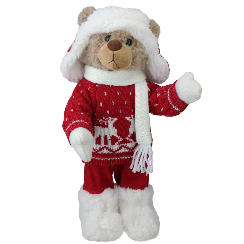 ''14'''' Retro Christmas Brown Winter Boy Bear in Deer SWEATER Christmas Figure Decoration''