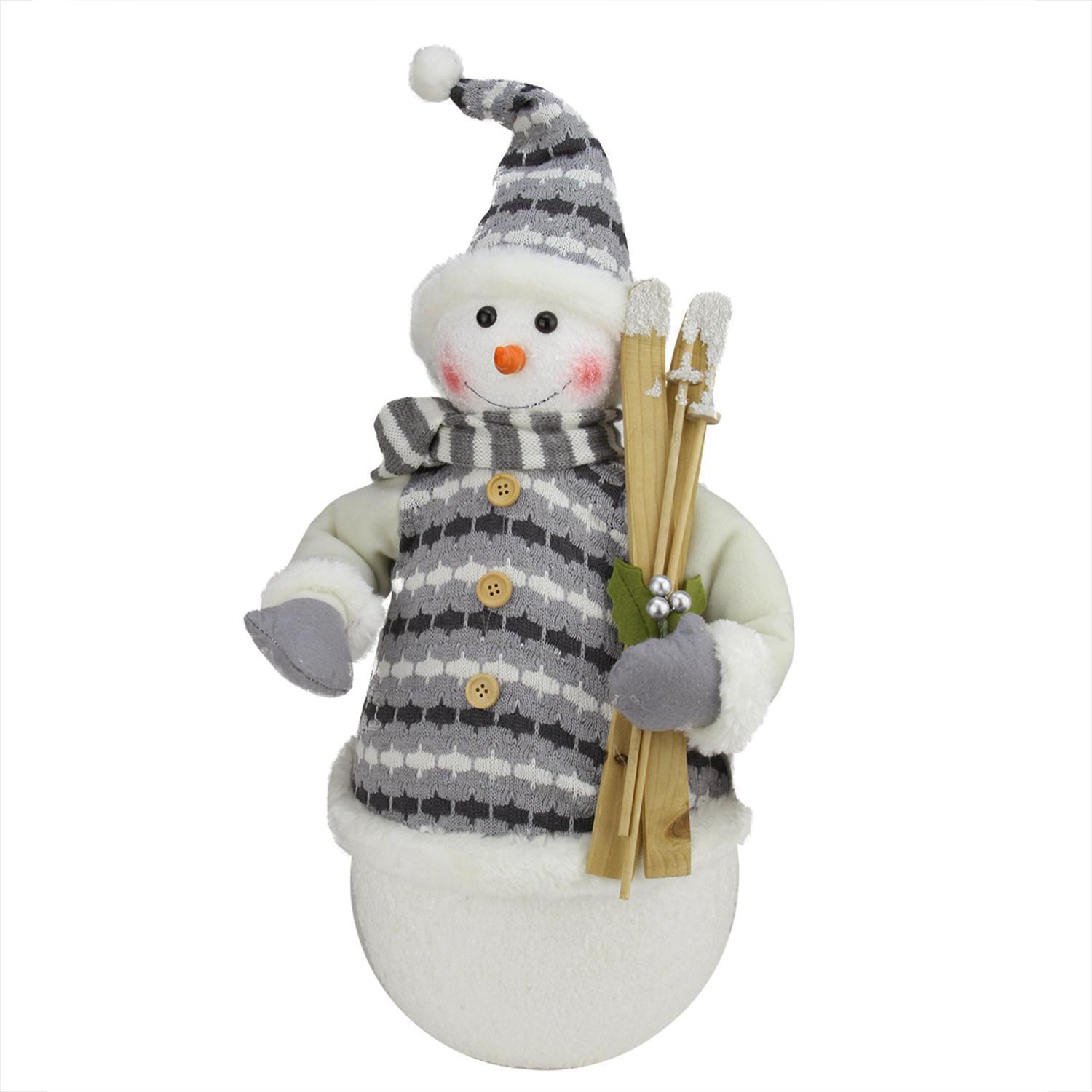 ''20'''' Alpine Chic Snowman with Gray and White JACKET Christmas Decoration''
