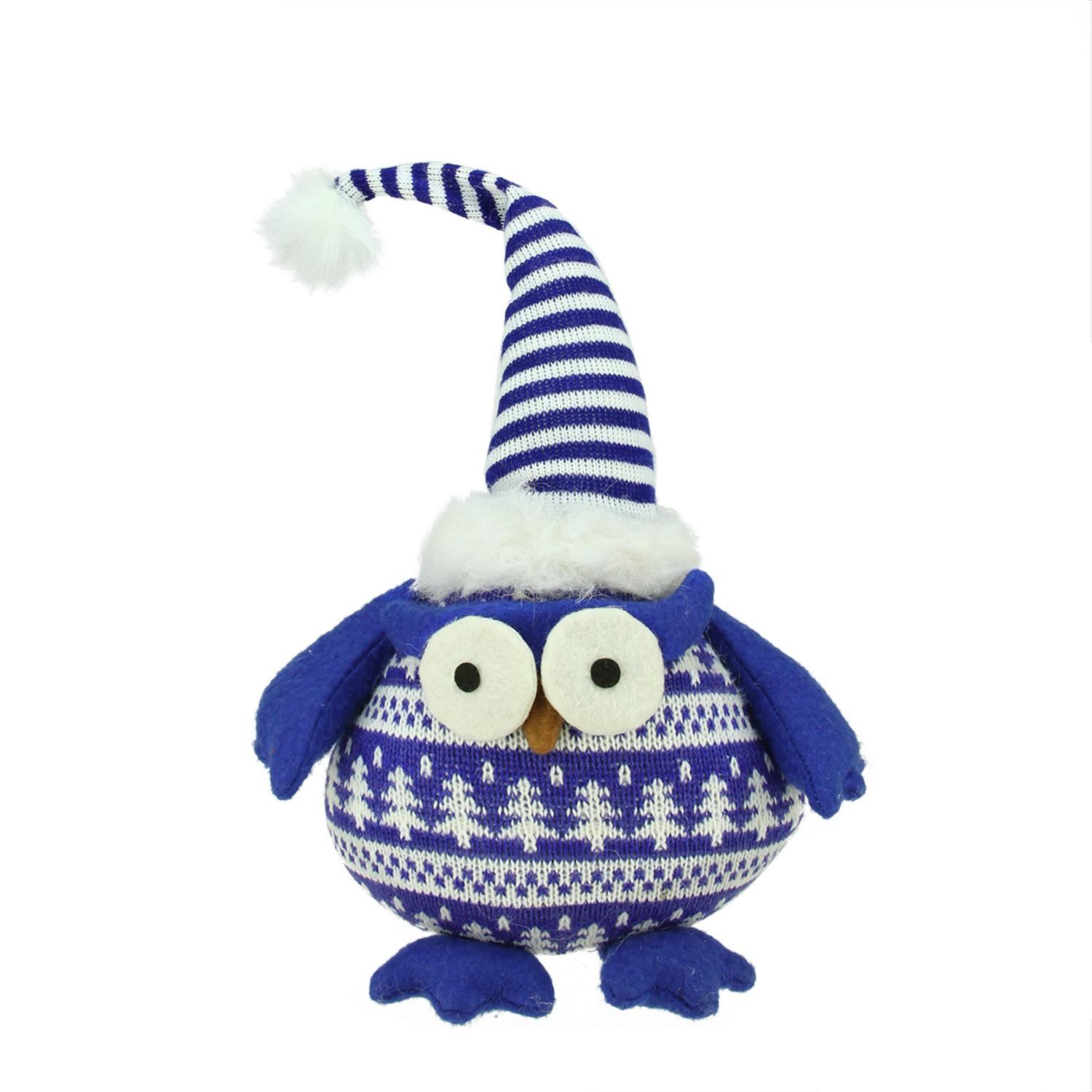 ''12'''' Chubby Blue and White Plaid Owl with Striped Hat and Winter SWEATER Table Top Christmas Figure