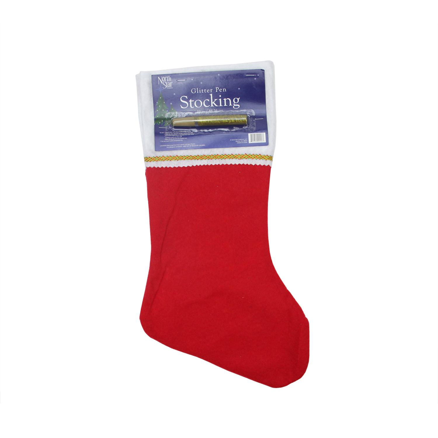 ''19'''' Traditional Red Customizable Christmas Stocking with Gold Glitter PEN''