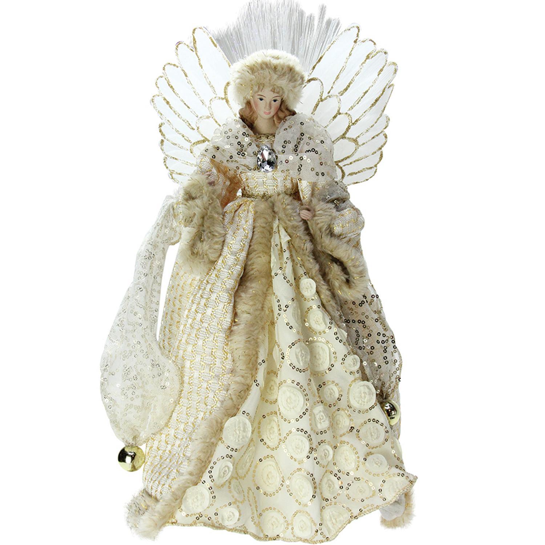 16 lighted b o fiber optic angel in golden sequined gown christmas tree topper ebay. Black Bedroom Furniture Sets. Home Design Ideas