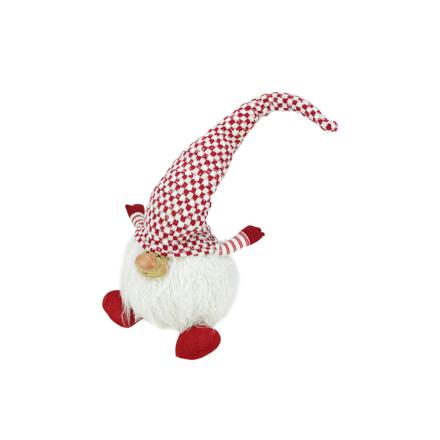 ''12'''' RED and White ''''Cheerful Charlie'''' Sitting Chubby Santa Gnome Table Top Christmas Figure''
