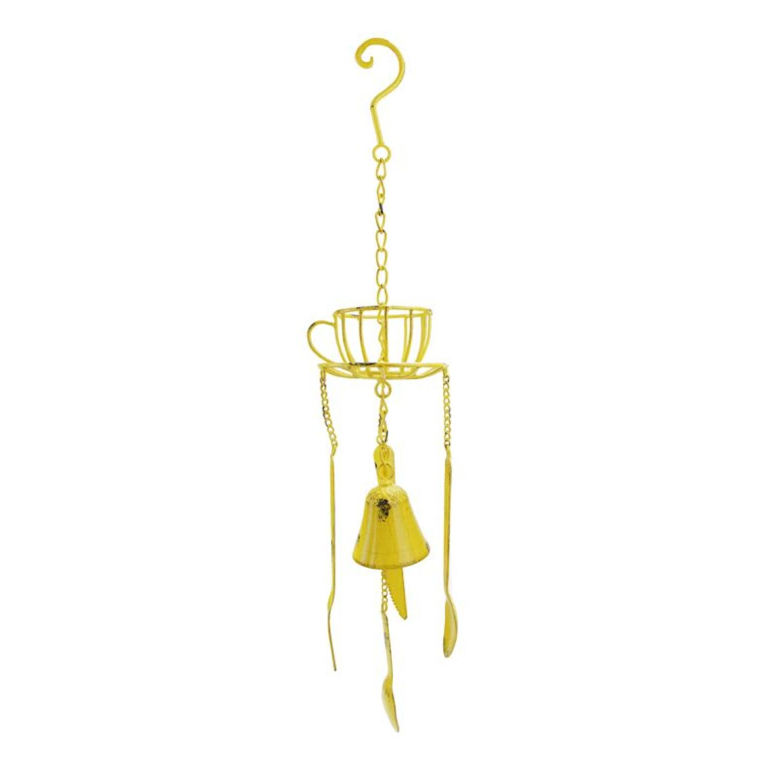 ''23.25'''' Yellow Cafe Themed Hanging Outdoor Garden WIND CHIME Decoration''