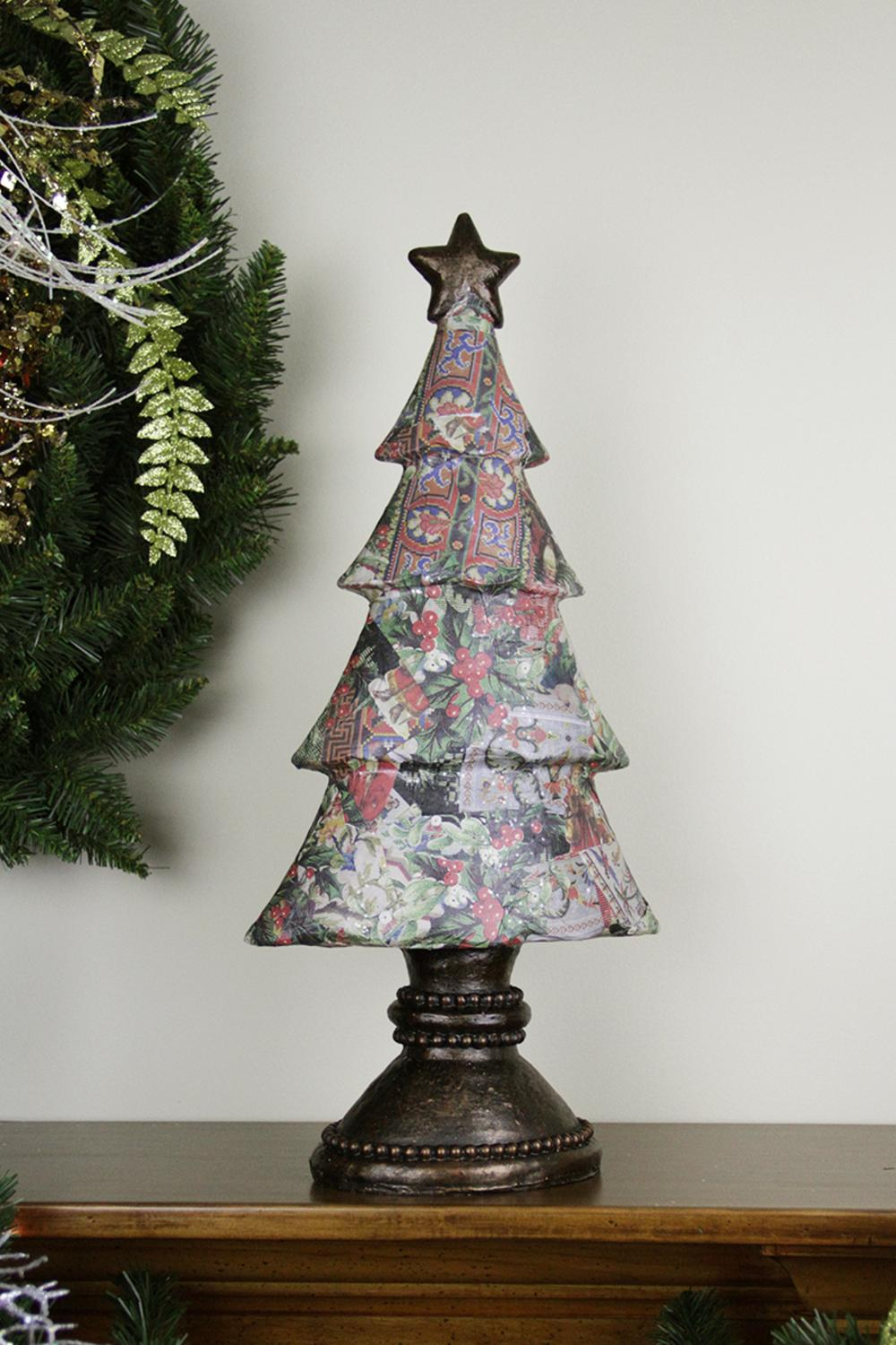 20 antique style victorian holly berry decoupage for Antique christmas tree decoration