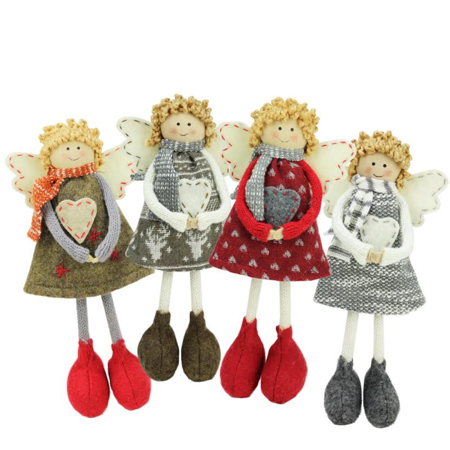 ''Set of 4 Colorful HOLIDAY Angel Sisters Standing Christmas Decorations 9''''''