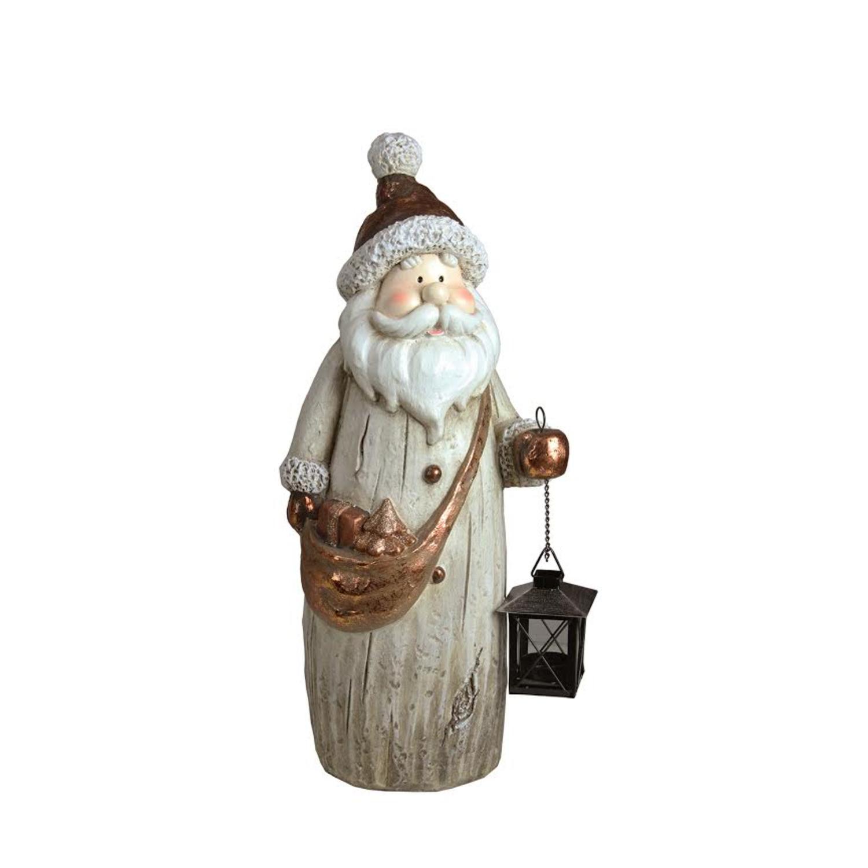 ''19.75'''' Weathered Santa with Tea Light Candle Lantern and SHOULDER BAG Christmas Figure''