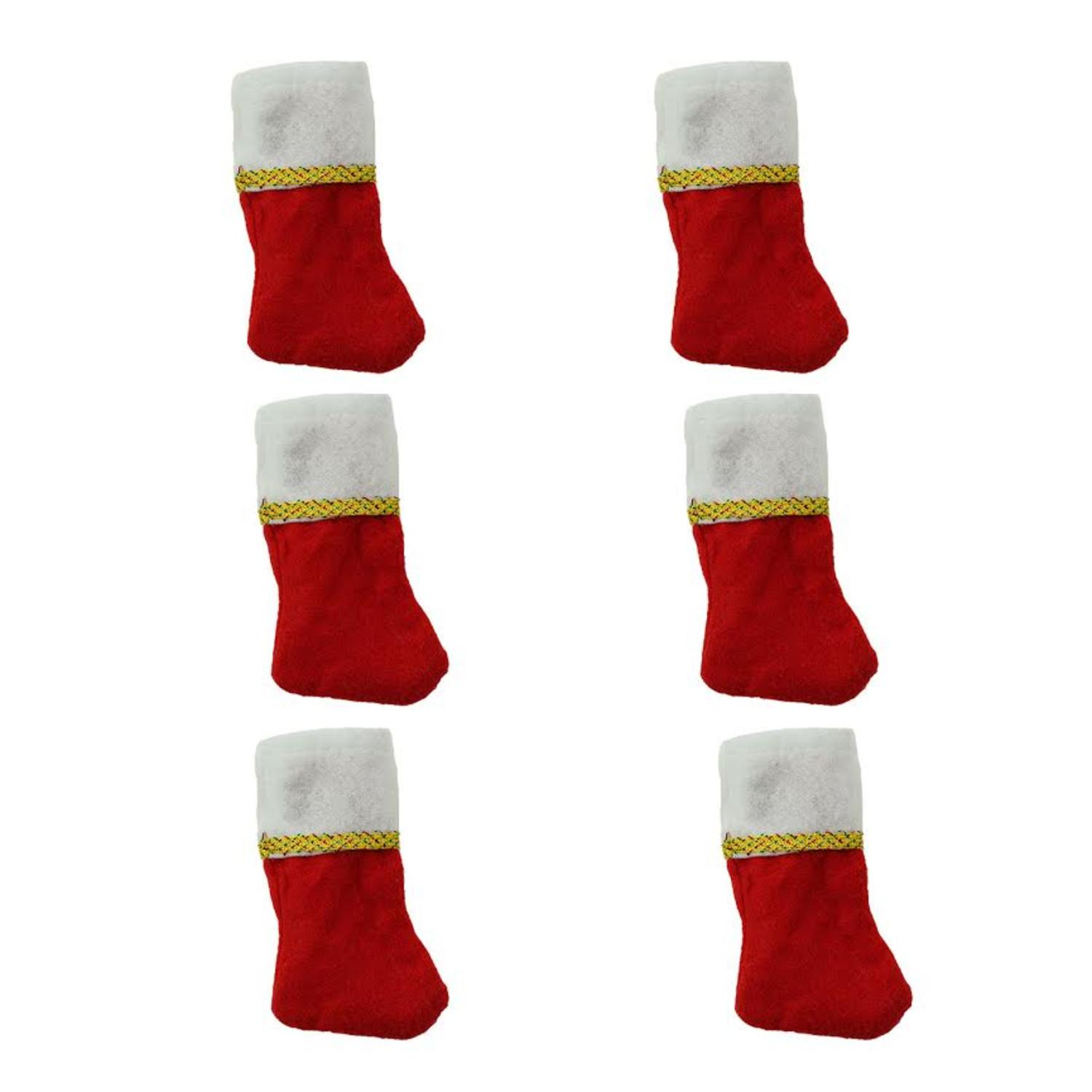 Pack of 6 Traditional Mini Christmas Stockings with Gold Glitter PEN