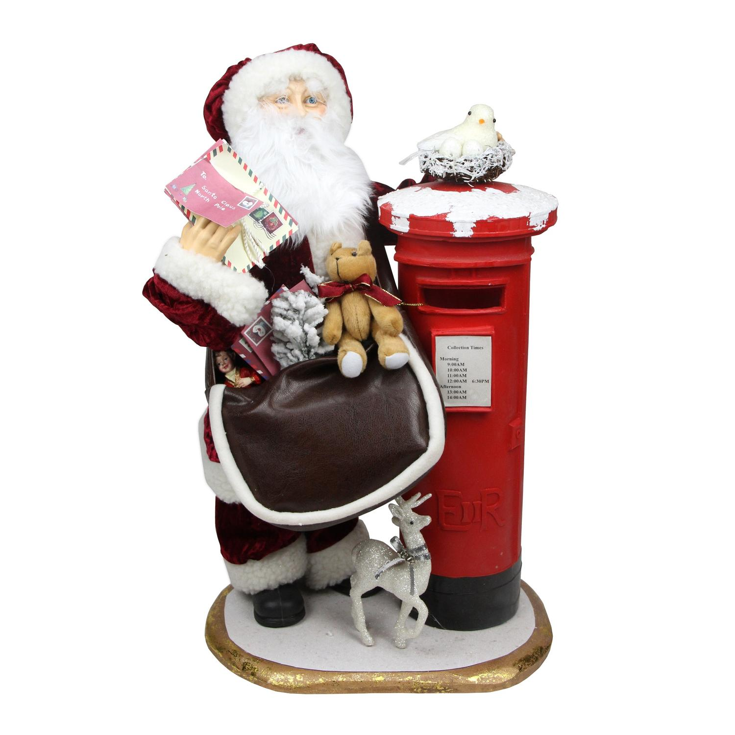 ''24'''' Decorative Santa Claus with SATCHEL and Mailbox Christmas Decoration''